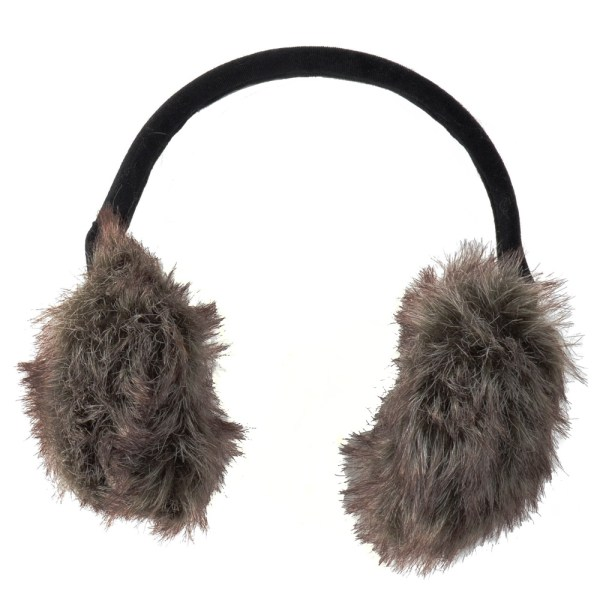 Ladies' 2 Toned Faux Fur Ear Muffs With Flexible Black