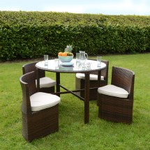 Rattan Wicker Dining Garden Furniture Set Table