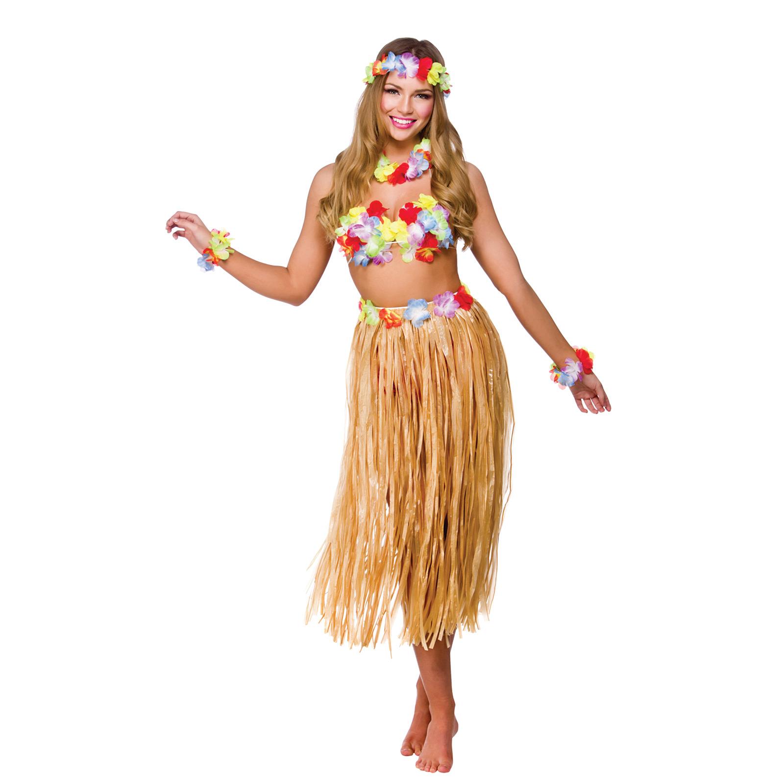 Womans Hawaiian Party Girl 5pc Set Halloween Fancy Dress