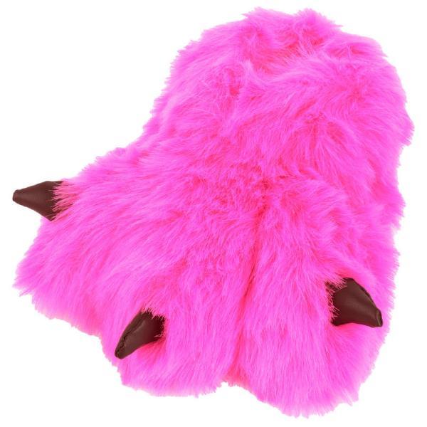 Girls Faux Fur Monster Feet Slippers Pink Purple