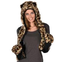 LEOPARD HAT/SCARF - Ladies Faux Fur Hat With Attached ...