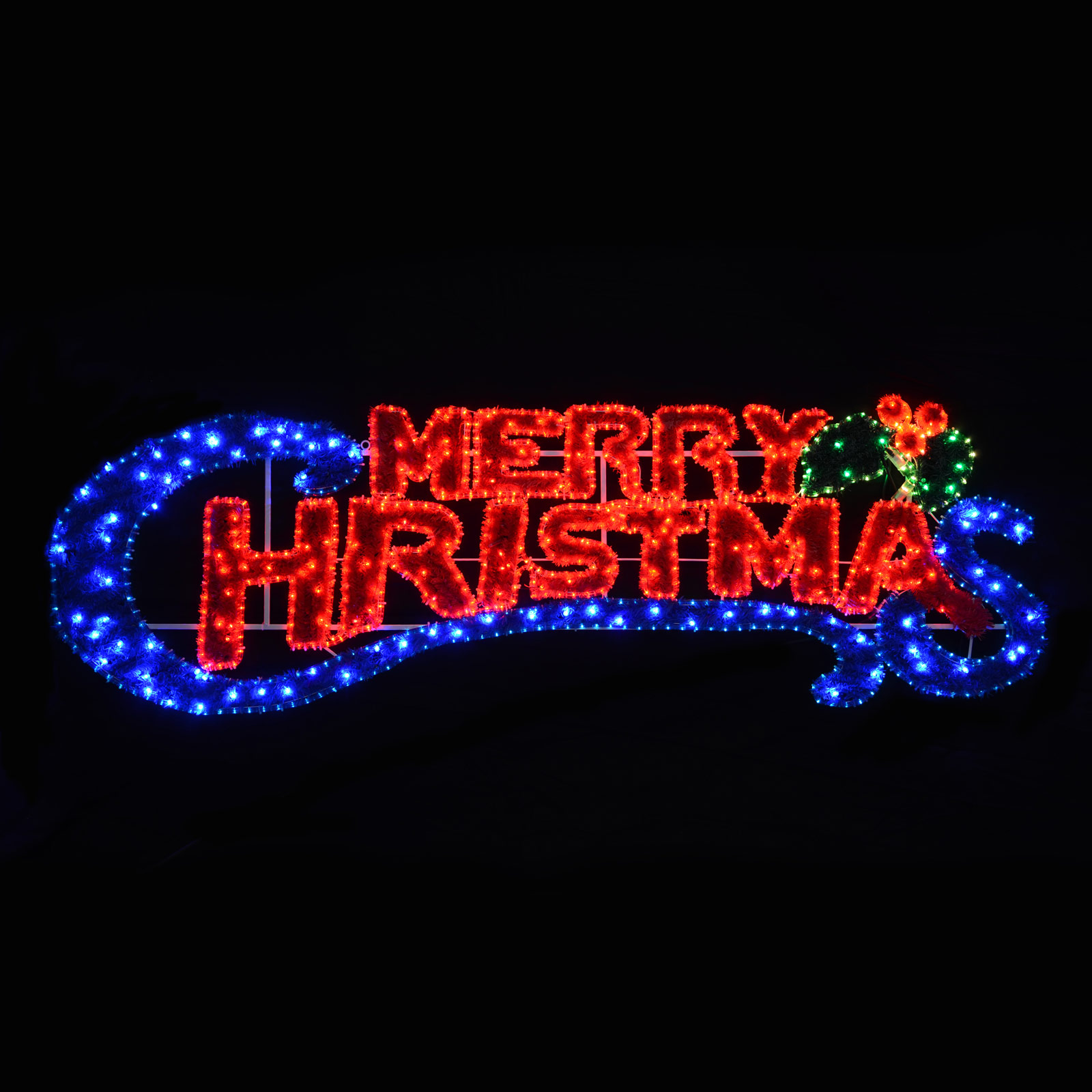 Large LED Rope Flashing Blue & Red Light Merry Christmas