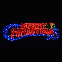 Large LED Rope Flashing Blue & Red Light Merry Christmas ...