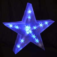 Holographic LED Star Light Up Christmas Decoration Battery ...