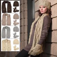 Ladies Elin Cable Knit Accessory Set - Beanie Hat Pocket ...