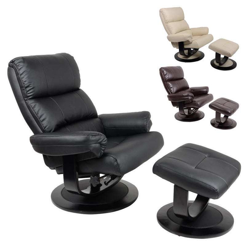 Luxury Faux Leather Relaxer Chair Recliner With Foot Stool