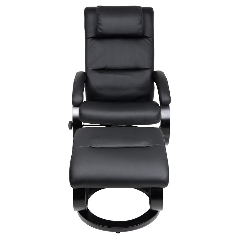 Black Relaxer Chair Recliner Armchair With Foot Stool