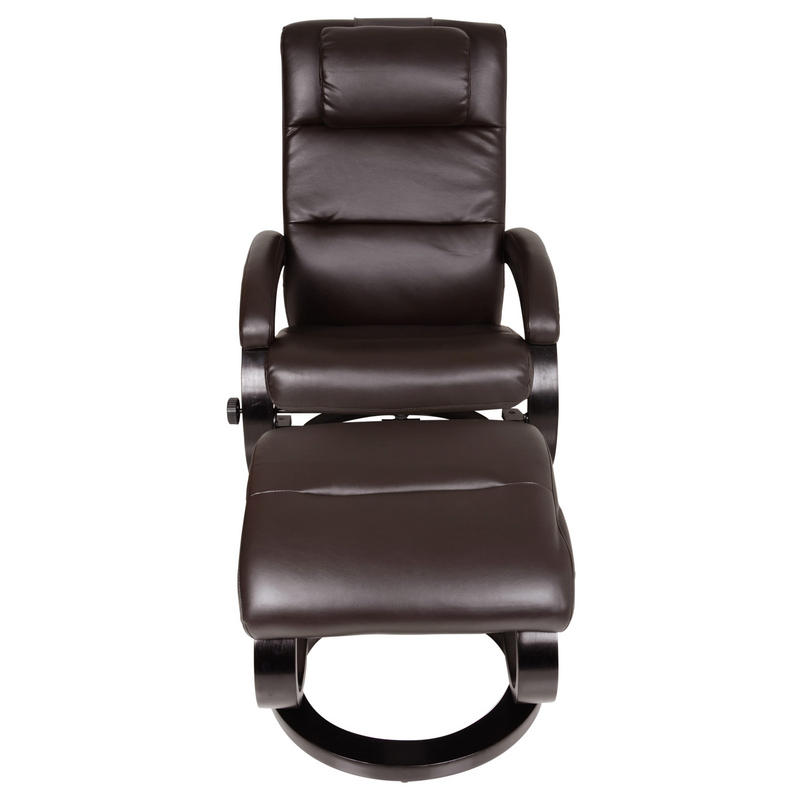 Dark Brown Relaxer Chair Recliner Armchair With Foot Stool