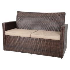 2 Pc Rocking Chair Cushions Caravan Oversized Zero Gravity Brown Tuscany Rattan Wicker Sofa Garden Set With Coffee Table