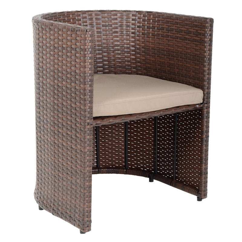 Brown Latina Bistro Garden Table Chairs Rattan Wicker