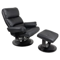 Black Leather Swivel Lounge Chair Bubble Hanging Uk Luxury Faux Relaxer Recliner 360