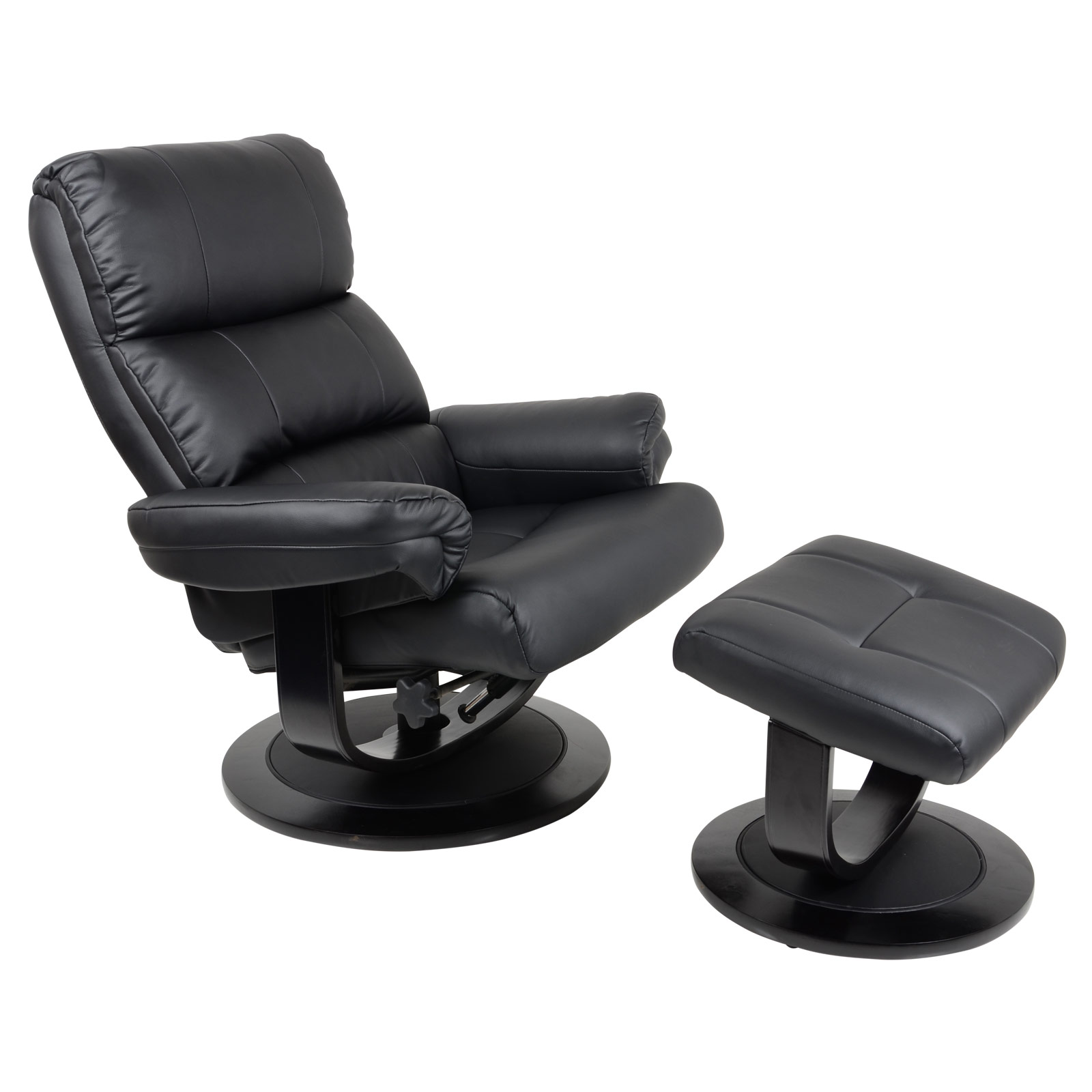 Black Swivel Chair Luxury Black Faux Leather Relaxer Chair Recliner 360