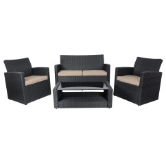 Black Rattan Chair Foldable Portable Tuscany Sofa Set Table Chairs Wicker Garden