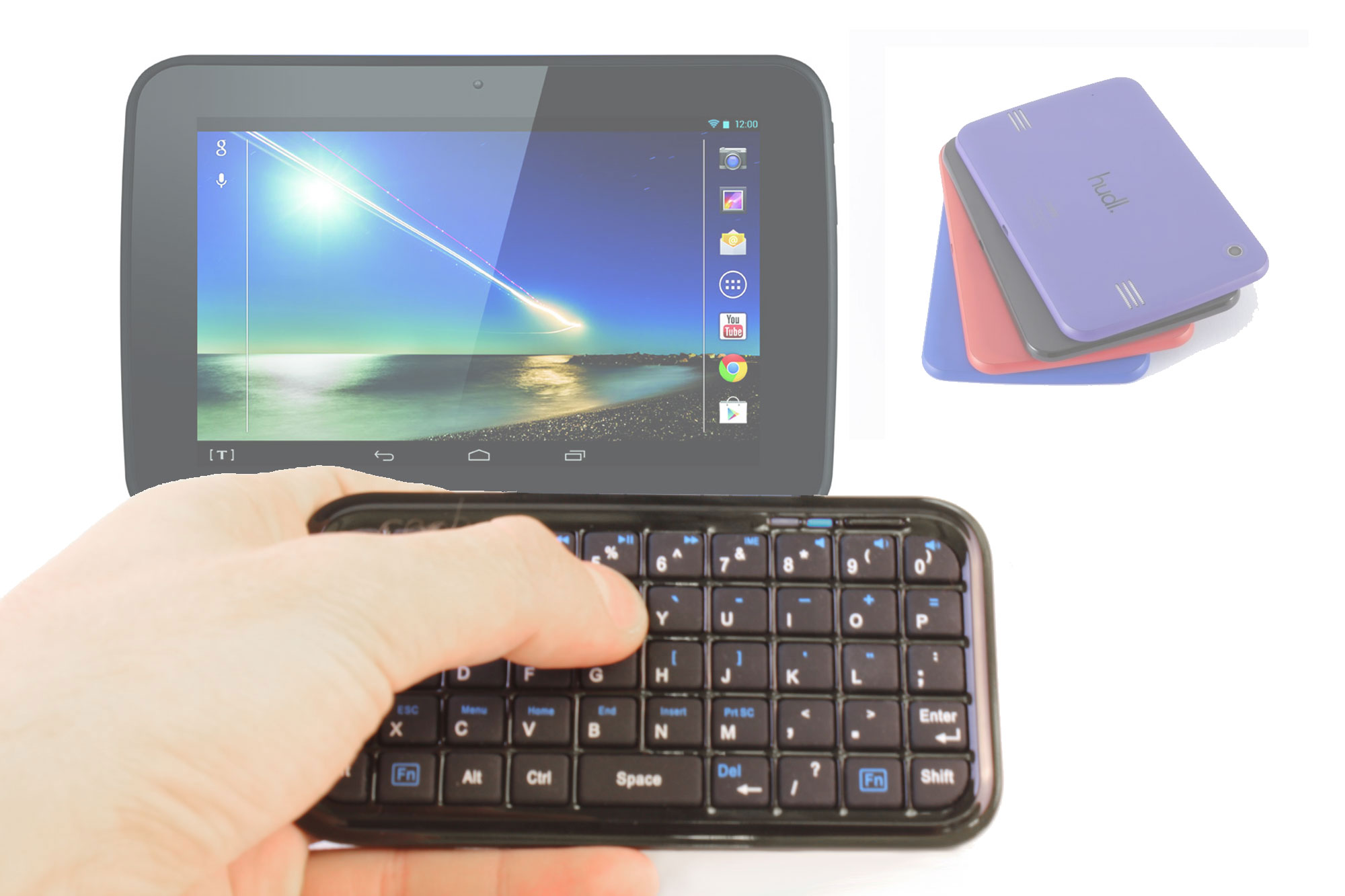 Compact Bluetooth Tablet Keyboard w Built In Charger For