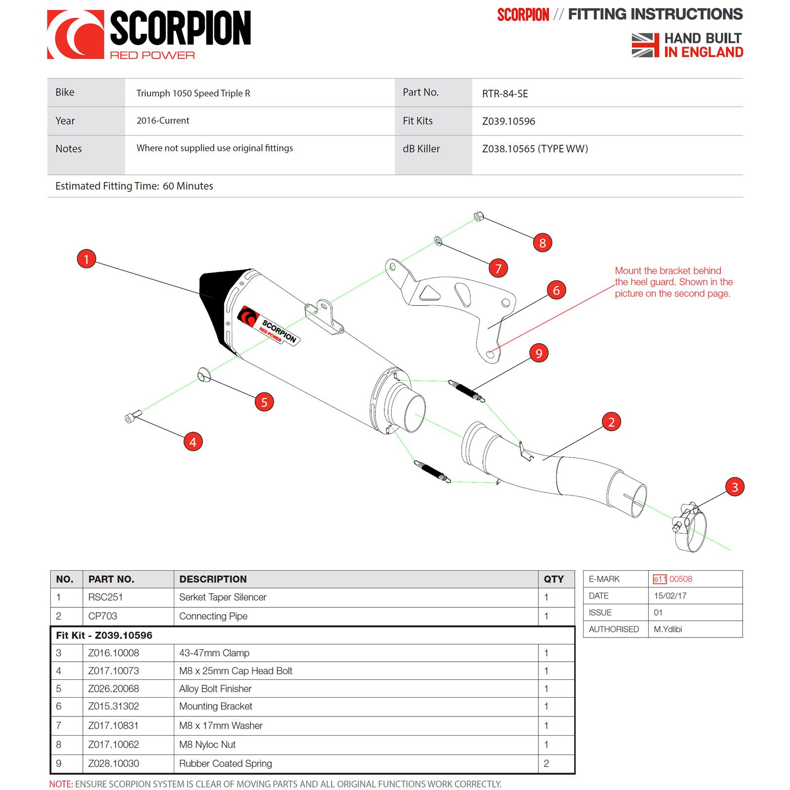 Triumph Speed Triple 1050 16-17 Scorpion Serket Taper