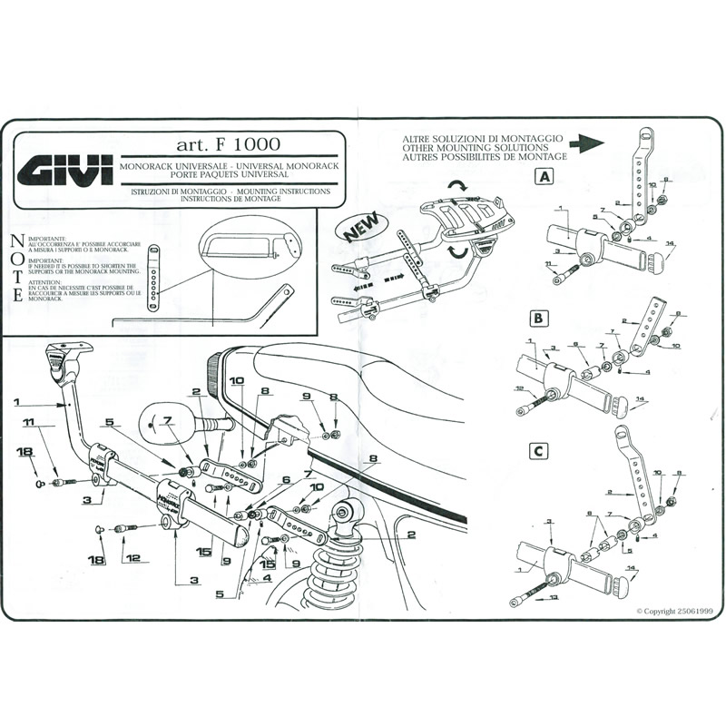 GIVI 1000F UNIVERSAL MONORACK ARMS FITTING KIT RACK FOR