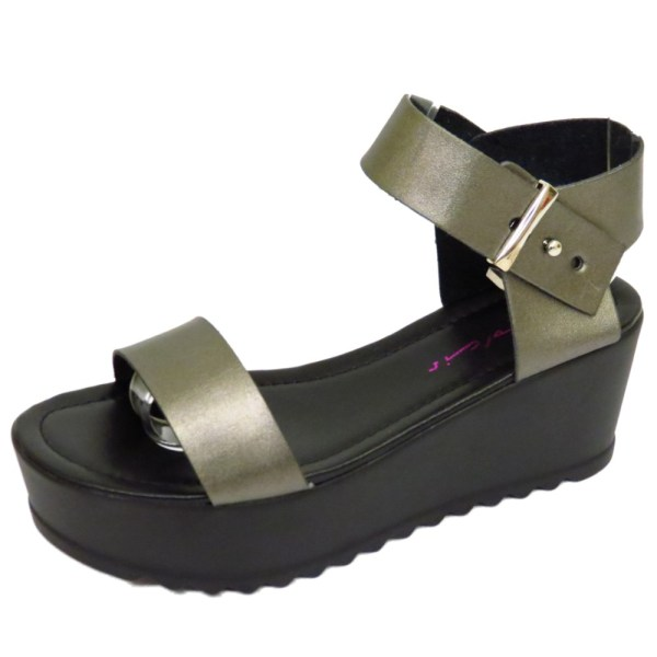 Ladies Dolcis Pewter Flat-form Platform Chunky Sandals Wedge Shoes Sizes 3-8