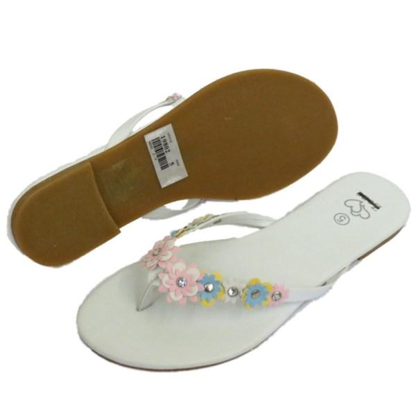 White Flower Flip Flop Sandals