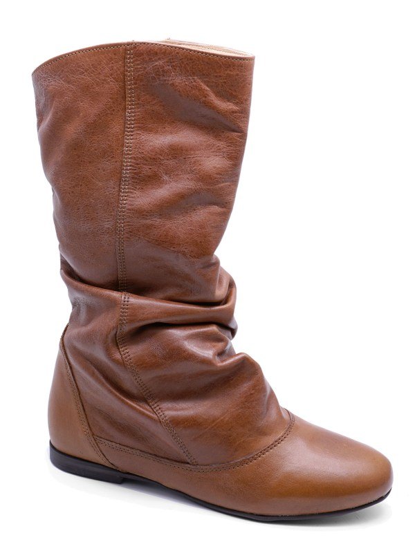 Womens Genuine Leather Brown Flat Slouch Cowboy Knee-high Calf Boots Uk 3-8