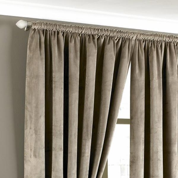 Riva Home Imperial Velvet Woven Pencil Pleat Lined Curtains