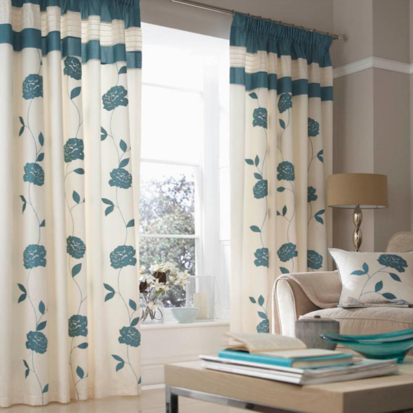 Catherine Lansfield Home Floral Trail Faux Silk Pencil Pleat Lined