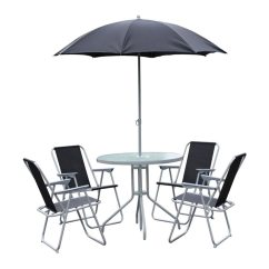 Folding Chair Job Lot The Womb Garden Table & Set. Glass Top, 4 Arm Chairs Black Parasol Patio | Ebay