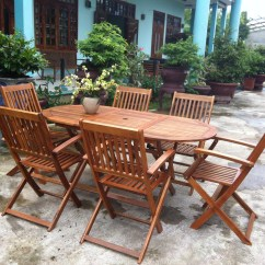 Outdoor Table And Chairs Wood Patio With Swivel Garden Oval 6 Wooden Dining