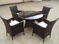 RATTAN TABLE, 4 ARM CHAIRS + CUSHIONS WICKER ROUND GLASS ...