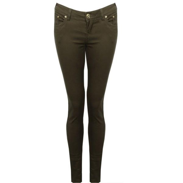 Womens Khaki Green Skinny Ladies Jeans Size 6-14
