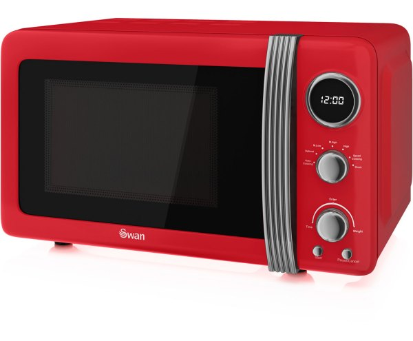 Swan Retro Sm22030rn 800w 20l Microwave Oven Lcd Display