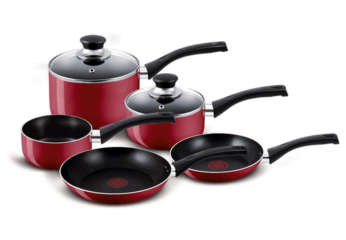 Tefal Bistro Non-Stick 5 Piece Pan Set 3 Saucepans 2 ...