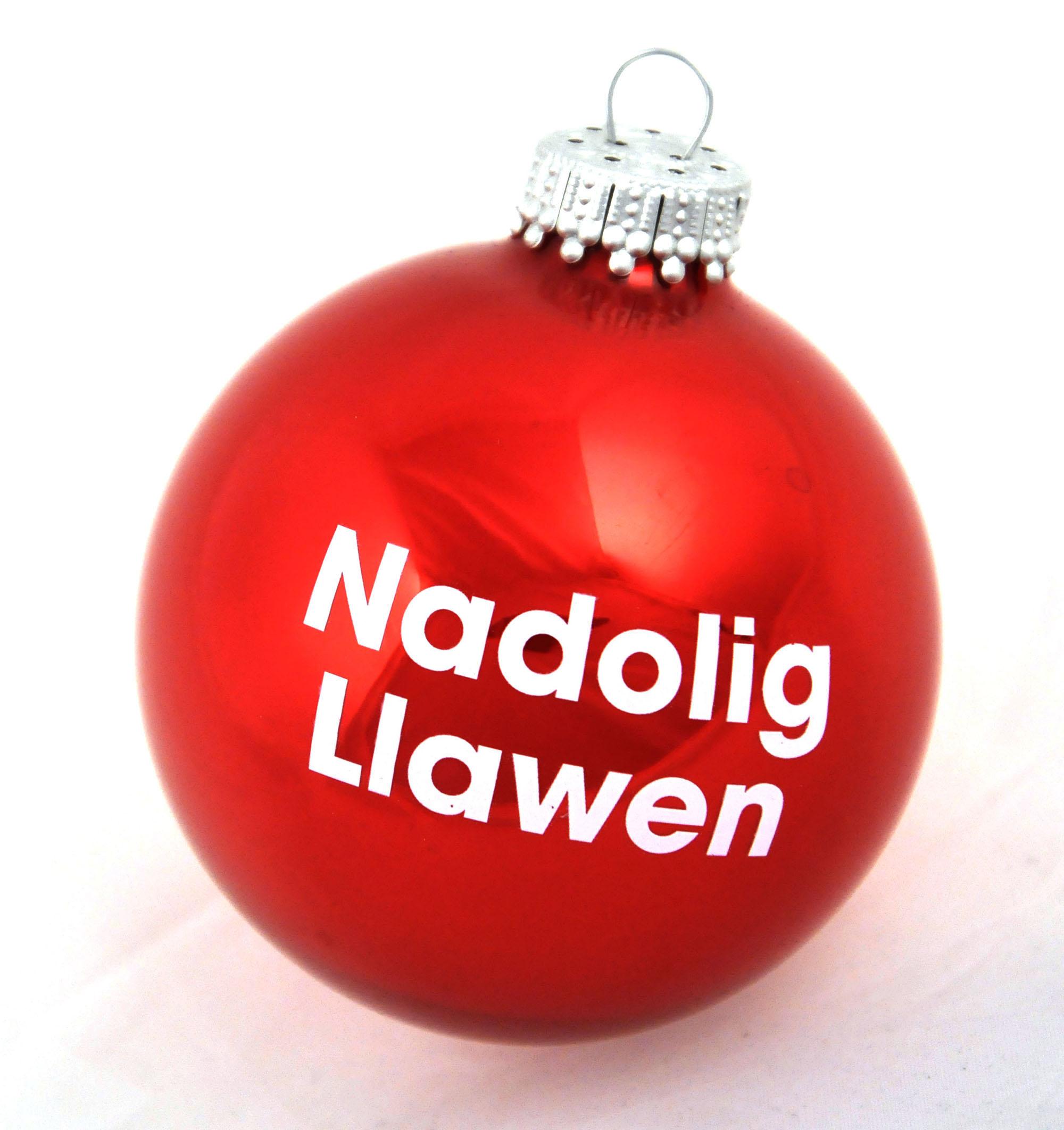 Welsh Christmas Red Bauble Nadolig Llawen Happy