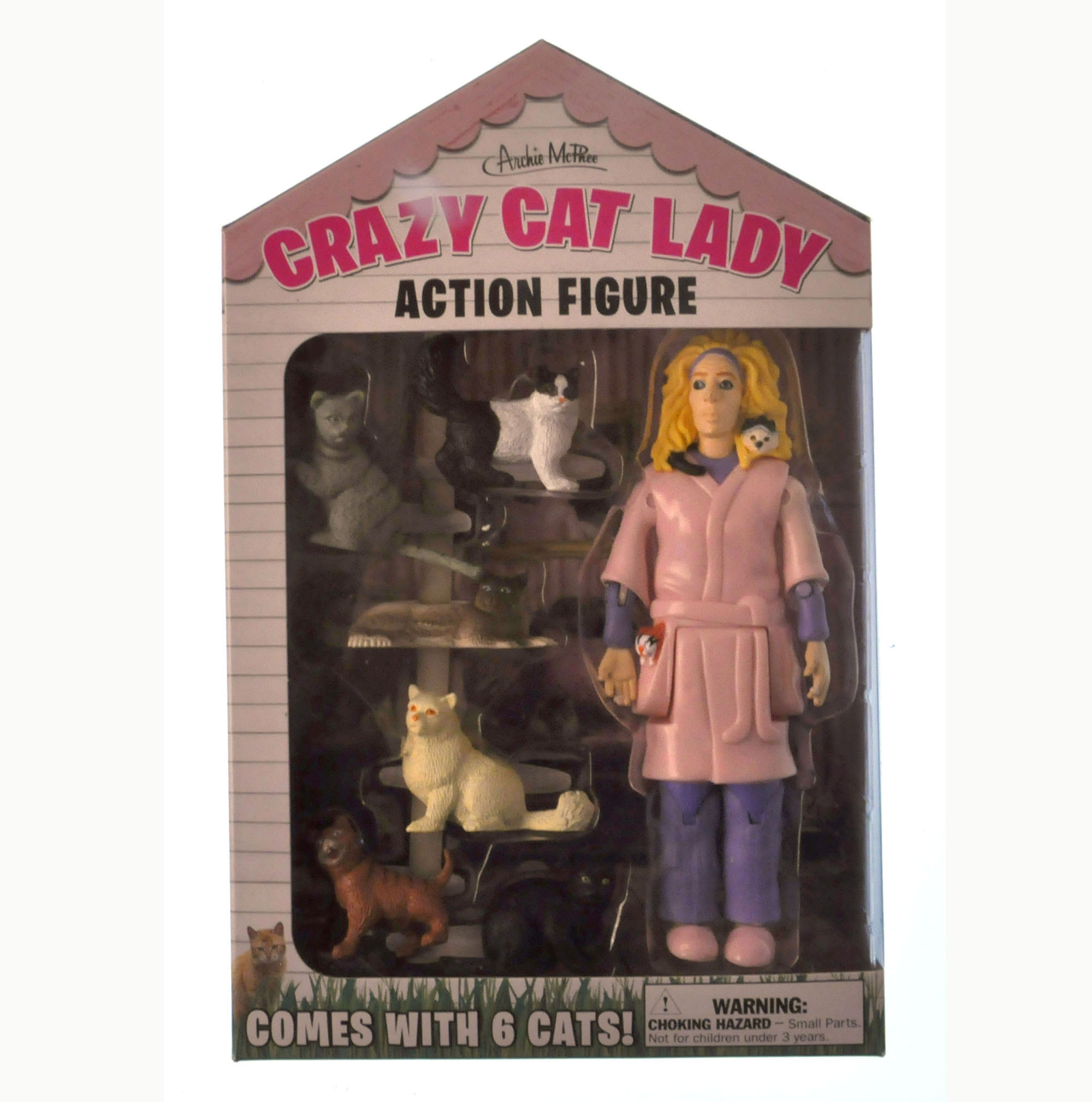 Crazy Cat Lady And Her 6 Cats Action Figure Pink Cat Shop