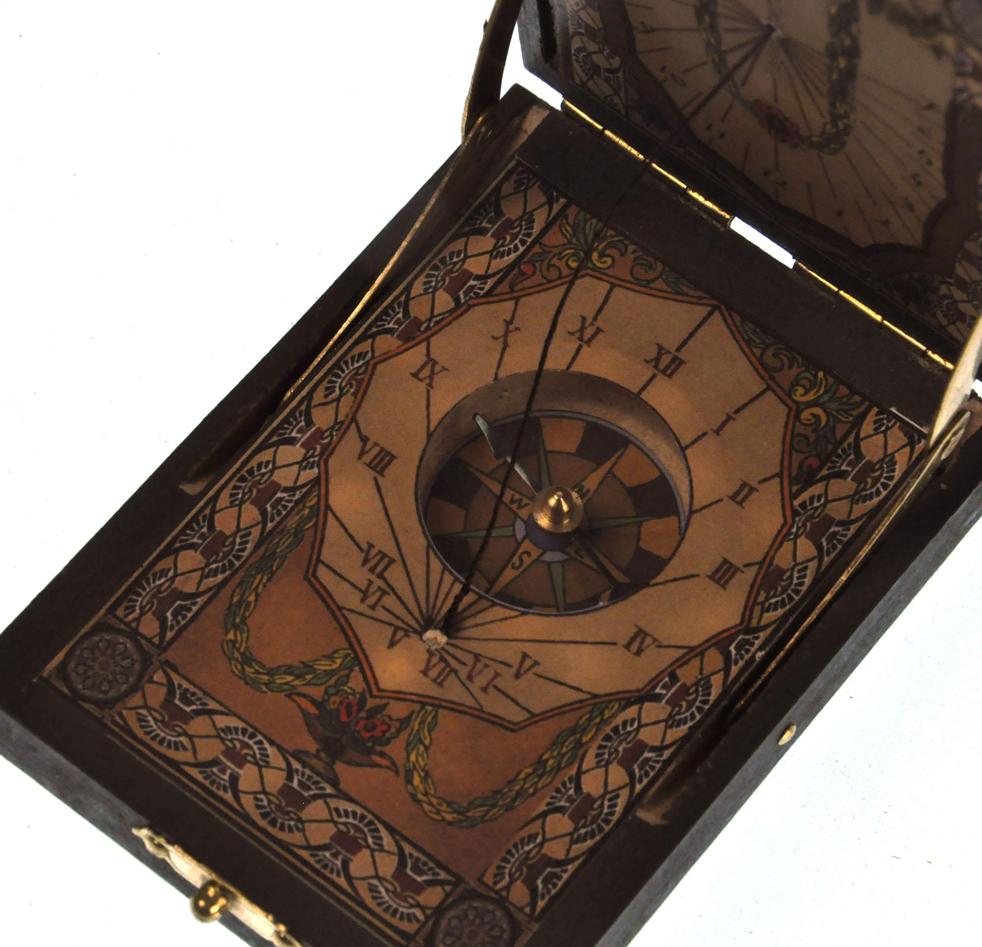 Pocket Sundial Compass Antique Scientific Instrument