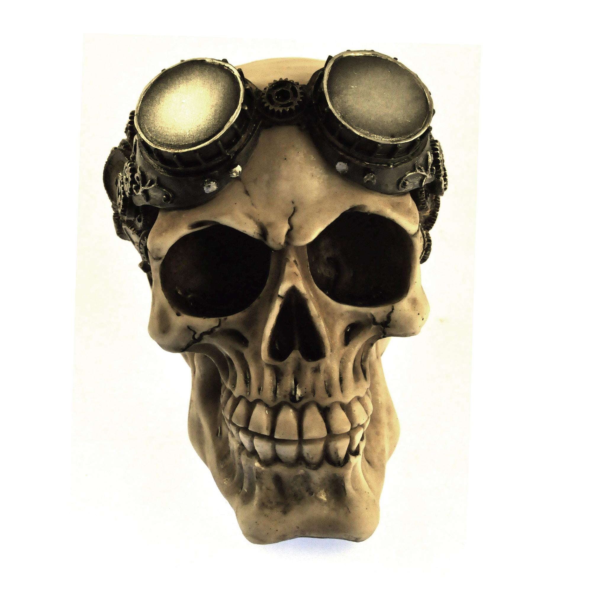Steam Punk Skull Mechanical Brain And Goggles 15cm 6