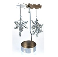 /Snowflake - Silver Rotating Tea Light Holder / T-light ...