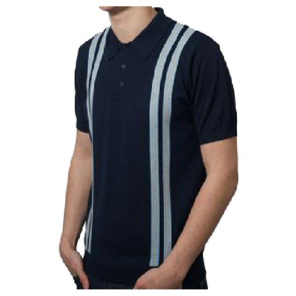 Art 60' Retro Mod Double Racing Stripe 3 Button Knit Polo Shirt Adaptor Clothing