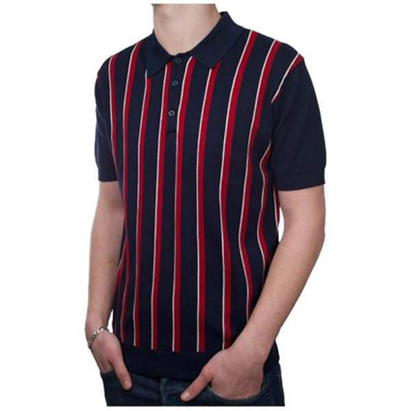 Art 60' Retro Mod Vertical Stripe 3 Button Knit Polo Shirt Navy Xl Adaptor Clothing