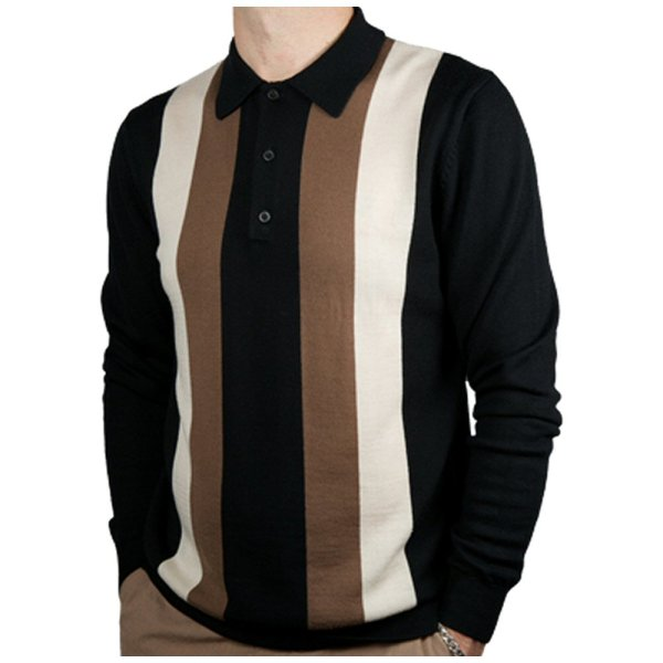 Art 60' Retro Mod Bold Stripe 3 Button L Knit Polo Shirt Adaptor Clothing