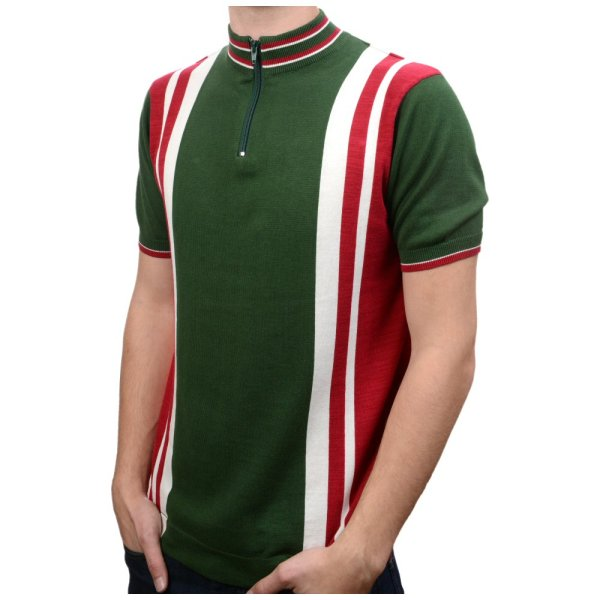 Art 60' Retro Mod Zip Collar Striped Tipped Knit Cycling Top Adaptor Clothing