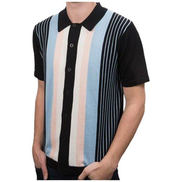Art 60' Retro Mod Button Cardigan Multi Stripe Knit Polo Shirt Adaptor Clothing