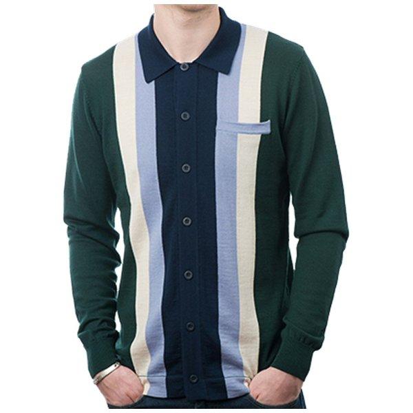 Art 60' Mod Retro Striped Button Knit Cardigan Adaptor Clothing