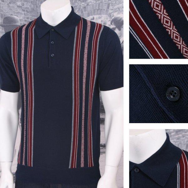 Art Retro Mod 100 Cotton Short Sleeve Fine Stripe Knit Polo Shirt Adaptor Clothing