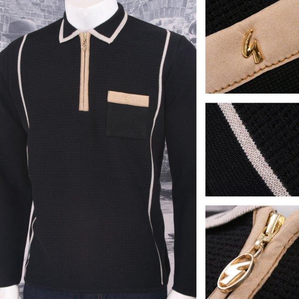Gabicci Vintage Mod Retro 60' Zip Textured Knit Tipped Polo Shirt Adaptor Clothing