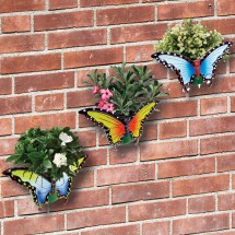 Butterfly Wall Planters Set Of 3 Garden Outdoor Brightly