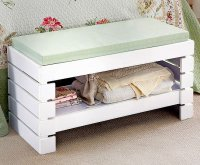Wooden Bathroom Bedroom BENCH SEAT With SHELF Storage Unit ...