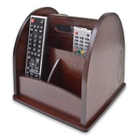 Revolving TV Remote Control Holder Organiser Wood Wooden ...