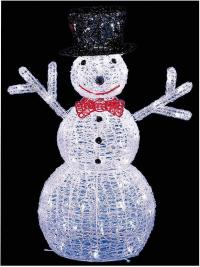 76cm LED Light Up Acrylic Snowman Statue Xmas In/outdoor
