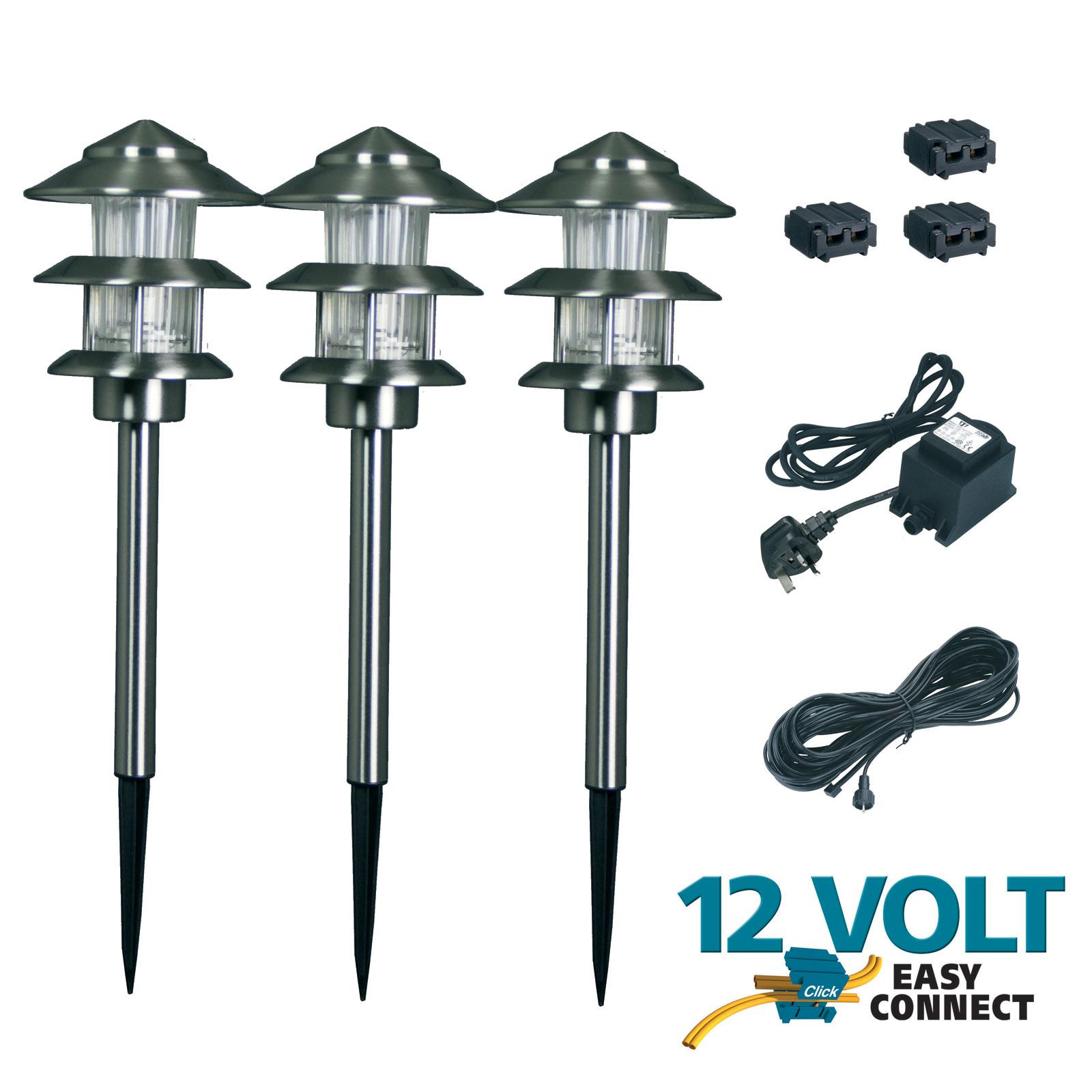 12 volt wiring diagram for garden lights 1997 subaru outback radio 12v electric low voltage post steel set of 3