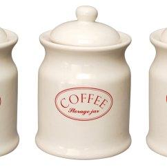 Kitchen Storage Canisters Appliances Ascot Cream Ceramic Tea Coffee Sugar Jars
